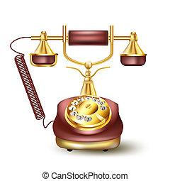 szüret, fehér, telefon, arany-