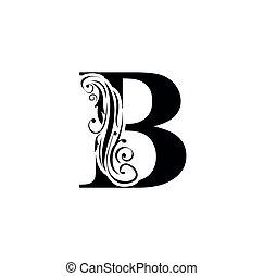 szüret, fekete, díszítés, vektor, virág, letters., jel, kezdő, alphabet., b., levél