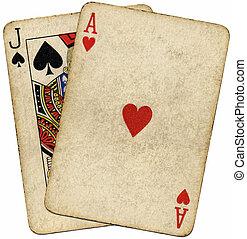 szüret, felett, elszigetelt, white., koszos, kártya, huszonegy