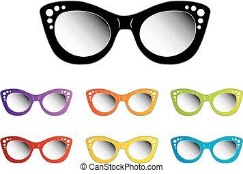 szüret, hölgyek, szem, eyewear, macska