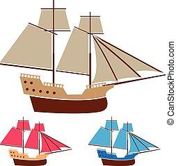 szüret, hajó, vitorlázik