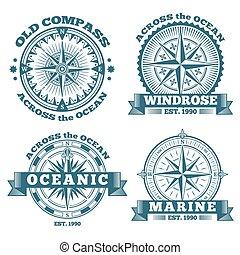 szüret, iránytű, elnevezés, jelvény, tengeri, emblémák, gyeplő, jel