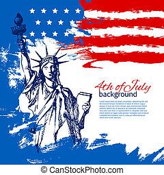 szüret, kéz, amerikai, 4, tervezés, háttér, flag., húzott, július, nap, szabadság
