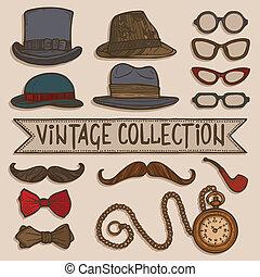 szüret, kalapok, állhatatos, szemüveg
