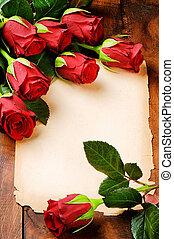 szüret, keret, dolgozat, piros rózsa