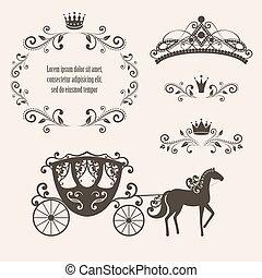 szüret, keret, királyság, fejtető