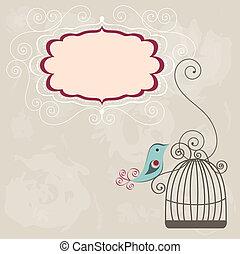 szüret, keret, wih, birdcage