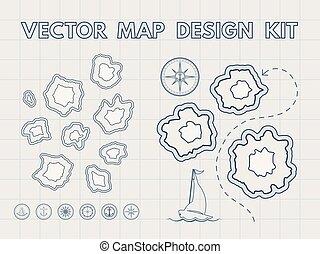 szüret, kincs, vektor, alkotó, térkép
