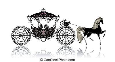 szüret, kocsi, ló