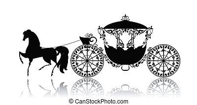 szüret, ló, árnykép, kocsi