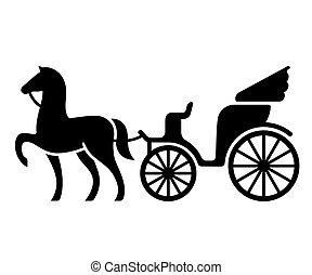 szüret, ló, kocsi, húzott