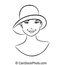 szüret, leány, kalap, arc