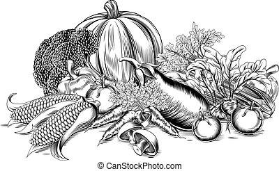 szüret, növényi, retro, fametszet