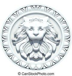 szüret, oroszlán, vektor, fej, sculpture.