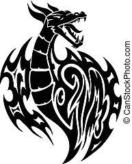 szüret, sárkány, tetovál, engraving.