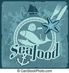 szüret, tenger gyümölcsei, poszter