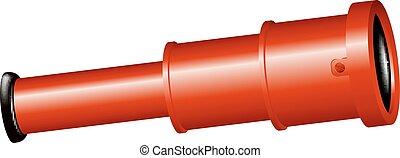 szüret, tervezés, kis kémtávcső, piros