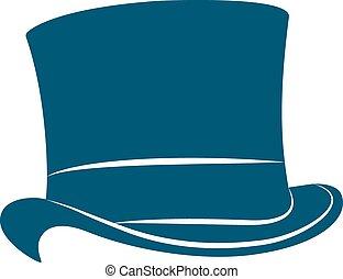 szüret, tető kalap, illustration., label.