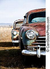 szüret, változat, függőleges, autók