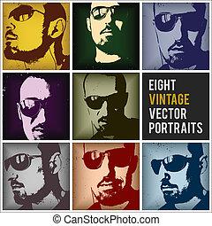 szüret, vektor, arcképek