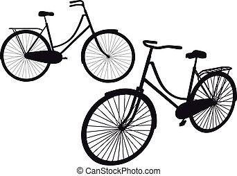 szüret, vektor, bicikli