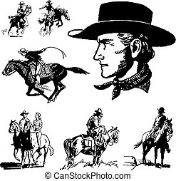 szüret, vektor, cowboy, grafika