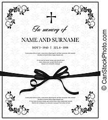 szüret, vektor, gyászjelentés, kártya, temetés, sablon