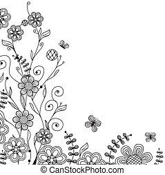 szüret, virágos, pillangók, handdrawn, menstruáció, kártya