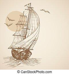 szüret, vitorlás hajó