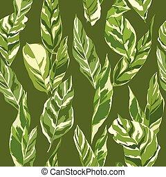 szüret, zöld, -, seamless, tropikus, vektor, háttér példa