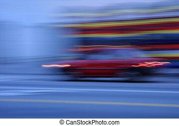 szürkület, autó, elken szándék, gyorshajtás