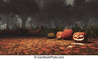 szürkület, mindenszentek napjának előestéje, ősz, sütőtök, erdő, ködös