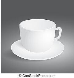 szürke, üres, háttér, csésze