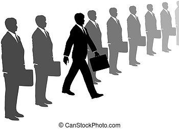 szürke, üzlet alkalmaz, kezdeményezés, lépések, egyenes, ki, ember