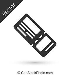 szürke, cédula, repülőgép, légitársaság, fehér, ticket., vektor, ikon, háttér., elszigetelt