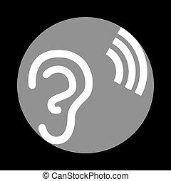 szürke, c-hang, cégtábla., háttér., fekete, emberi, fehér, fül, karika, ikon