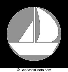 szürke, c-hang, cégtábla., vitorlázik, háttér., fekete, white körbejár, csónakázik, ikon
