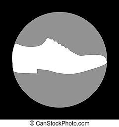 szürke, c-hang, cipők, cégtábla., férfiak, háttér., fekete, white körbejár, ikon