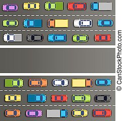 szürke, dzsem, forgalom, út, autók