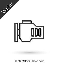 szürke, ellenőriz, vektor, ikon, elszigetelt, gép, white megtölt, háttér.