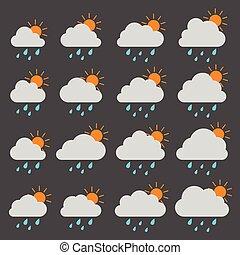 szürke felhő, nap, háttér, esőcseppek