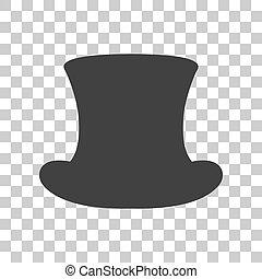 szürke, háttér., kalap, cégtábla., tető, ikon, áttetsző, sötét