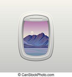szürke hegy, bíbor, evening., ábra, háttér., ablak, vektor, fehér, plane., kilátás