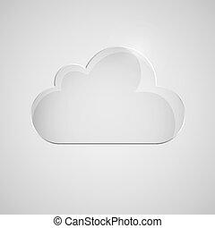szürke, ikon, háttér., felhő, pohár