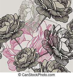 szürke, illustration., drawing., motívum, seamless, kéz, agancsrózsák, vektor, virágzó, háttér