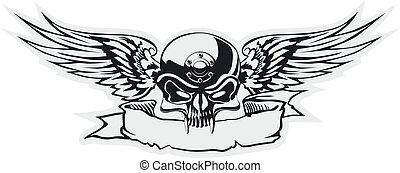 szürke, kasfogó, koponya, alap