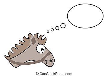 szürke, ló, buborék, fej