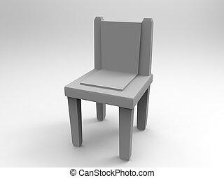 szürke, szék, render, 3