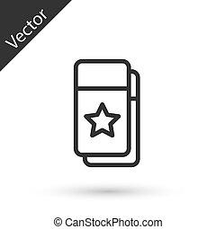 szürke, vektor, ikon, elszigetelt, cédula, white megtölt, háttér., mozi