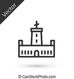szürke, vektor, ikon, elszigetelt, white megtölt, háttér., bástya, spain., montjuic, barcelona